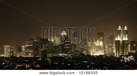 Nightly skyline of a south asian city (Jakarta) seen from Kuningan