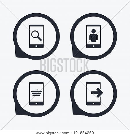 Phone icons. Video call, online shopping.