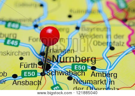Photo of pinned Schwabach on a map of Germany. May be used as illustration for traveling theme.