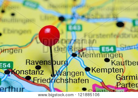 Photo of pinned Wangen on a map of Germany. May be used as illustration for traveling theme.