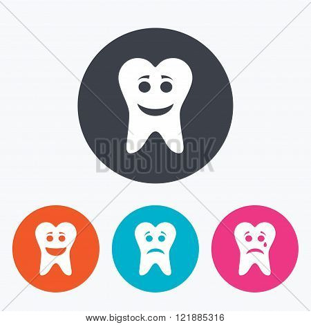 Tooth smile face icons. Happy, sad, cry.