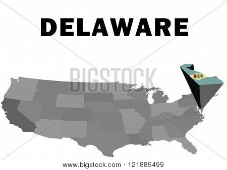 Outline map of the United States with the state of Delaware raised and highlighted with the state flag