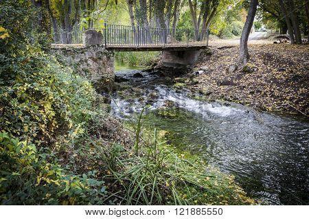 ancient bridge over Dulce river in Mandayona, Guadalajara, Spain