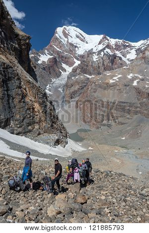 People traveling in mountains