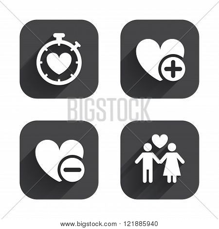 Valentine day icons. Love heart timer sign.