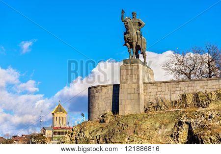 Monument of King Vakhtang I Gorgasali near Metekhi Church in Tbilisi