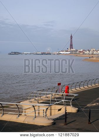 Blackpool tower and North Pier and new promenade