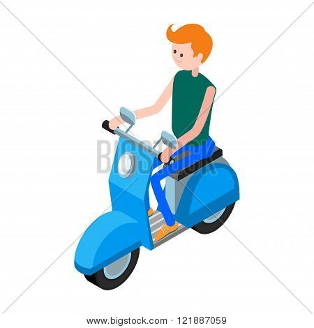 Isometric icon scooter with a driver. 3d icon scooter isolated on white background. Isometric icon of the motorcyclist on a blue scooter in a flat style. Vector illustration.