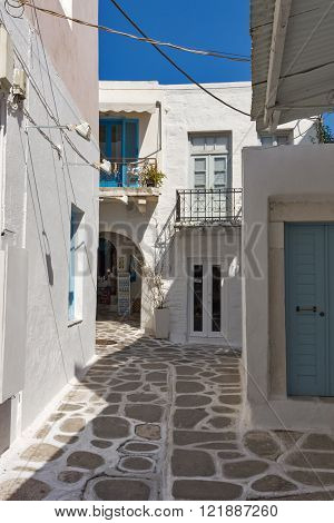 Typical white house in town of Parakia, Paros island, Cyclades, Greece