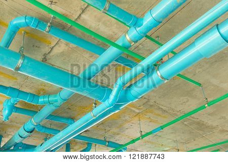 Solid waste & sanitary PVC pipeline suspension.