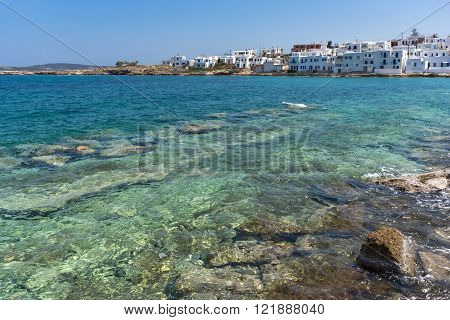 Panoramic view of town of Naoussa, Paros island, Cyclades, Greece
