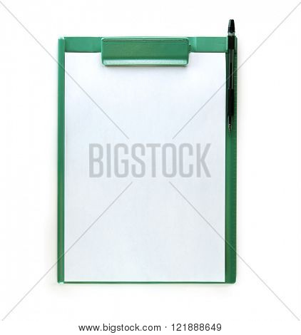 Green clip board with pen, isolated on white.