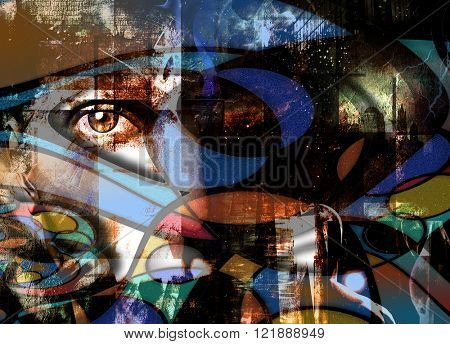 Human Face and eye peers out in abstract