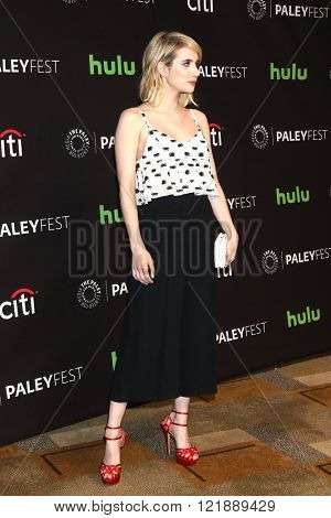 LOS ANGELES - MAR 12:  Emma Roberts at the PaleyFest Los Angeles - Scream Queens at the Dolby Theater on March 12, 2016 in Los Angeles, CA