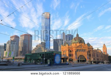 MELBOURNE AUSTRALIA - FEBRUARY 13, 2016: Melbourne Flinders Street Train Station Australia