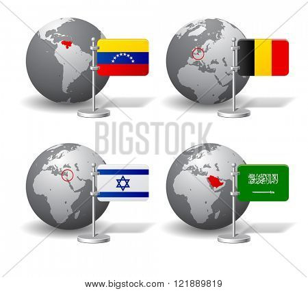 Gray Earth globes with designation of Venezuela, Belgium, Israel and Saudi Arabia, with state flags. Vector illustration
