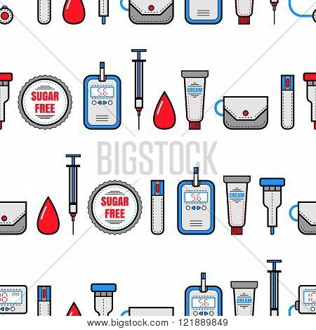 Seamless pattern. Diabetes. Medical flat icons.