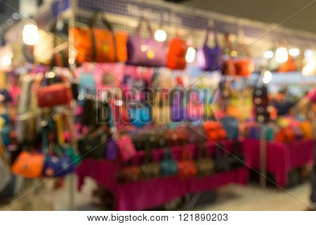Colorful Woman Handbag Selling In Shop (blur Background)