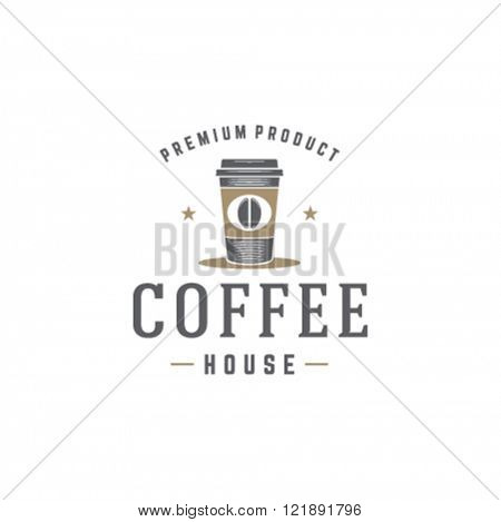Coffee Shop Logo Template. Coffee Cup Silhouette Isolated On White Background. Vector object for Labels, Badges, Logos Design. Coffee Logo, Coffee Cup Silhouette, Retro Logo, Cup Icon.