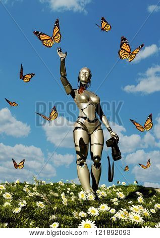 Robot and butterflie against the sky