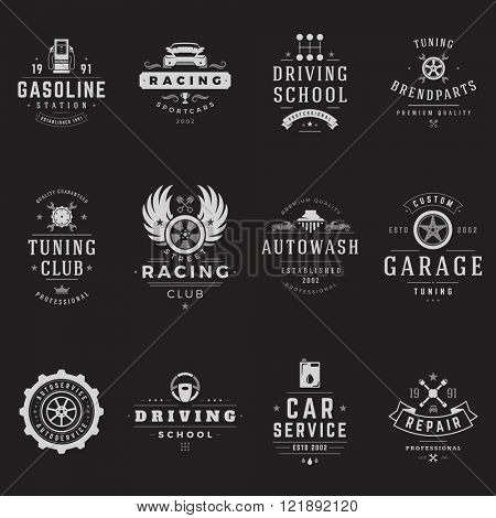 Car Service Logos Templates Set. Vector object and Icons for Garage Labels, Car Badges, Repairs Logos Design, Emblems Graphics. Whel Silhouettes, Piston Symbols.