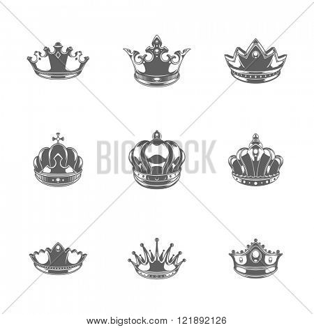 King Crowns Logos Vector Illustration. Royal Crowns Silhouette Isolated On White Background. Vector object for Labels, Badges, Logos Design. King Logo, Luxury Logo, Crown Symbols, Crown Icons.