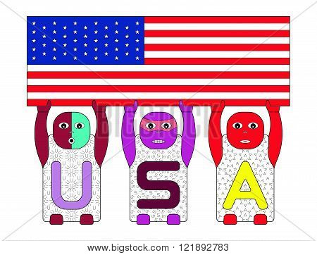 CHILDREN'S NAMES U,S and A LIFTING USA FLAG