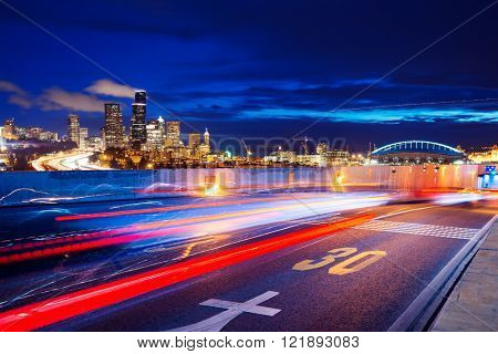 asphalt road with cityscape and skyline of seattle