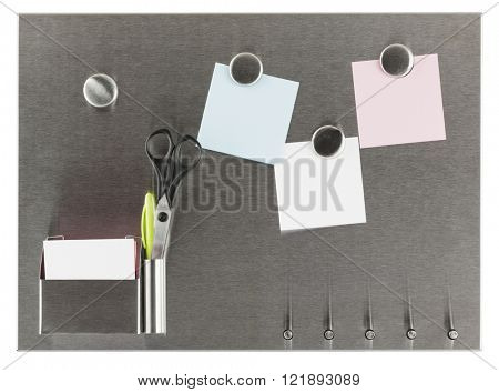 Stainless steel magnet board with blank papers, scissors and ballpoint pen in container, isolated with clipping path