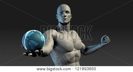 Man Holding an Earth Globe in his Palm