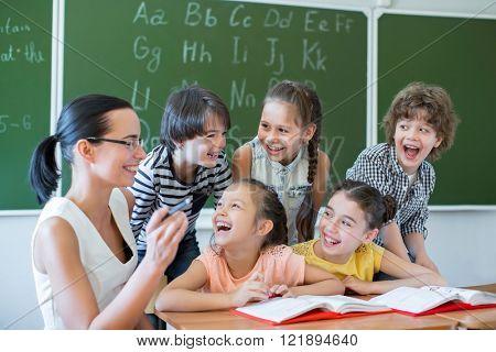 Happy classmates at school