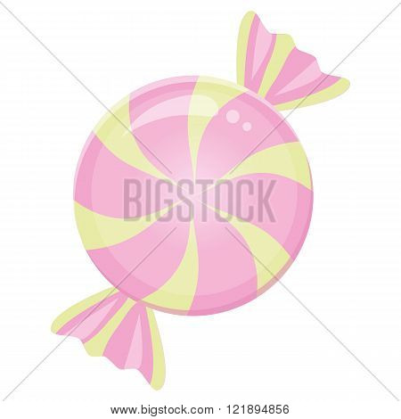 Spiral candy sugar drop pink yellow color in a wrapper.