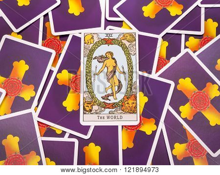 Samara Russia-March 9 2016: Tarot cards Tarot the world card in the foreground.