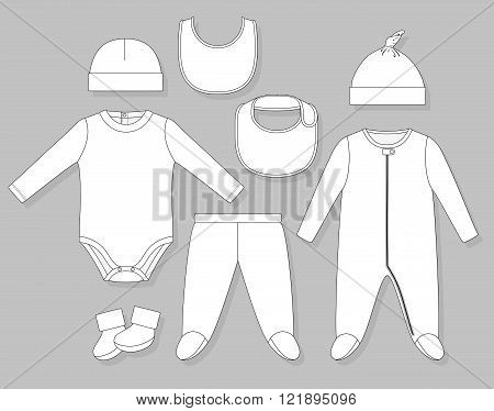 baby boy clothes set flat sketch isolated on grey background