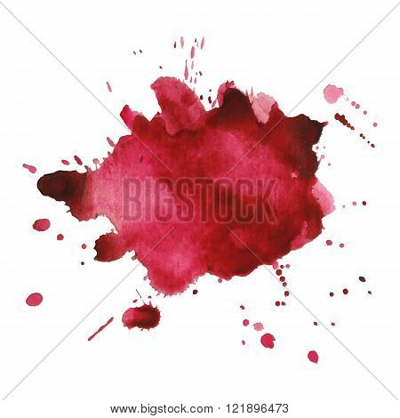 Expressive watercolor spot blotch with splashes red color.