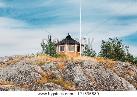 Finnish Weather Station On Rock In Island in Finland