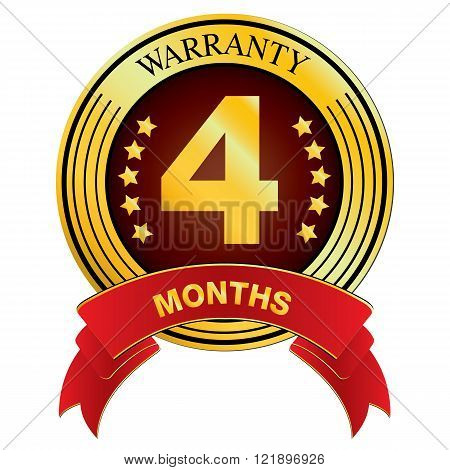Warranty for Four Month isolated on white background. Vector Warranty for Months.