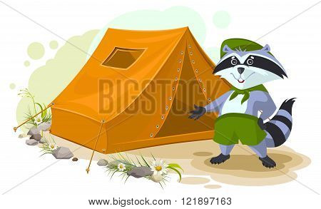 Summer holiday camp. Scout raccoon standing near tent. Raccoon tourist tent set. Camping