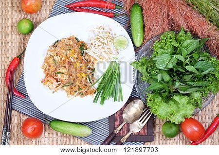 Thailand style noodles, stir-fried rice noodles and salad (Pad Thai)