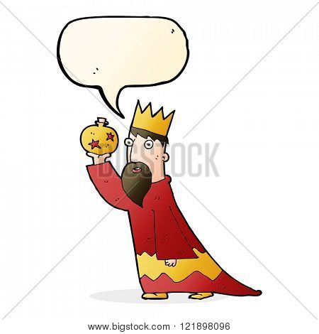 one of the three wise men with speech bubble