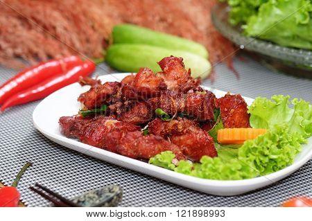 Chicken Stir Fried and salad food in Thailand