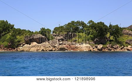 Beautiful Huge granite boulders on Curieuse Island in Indian Ocean.