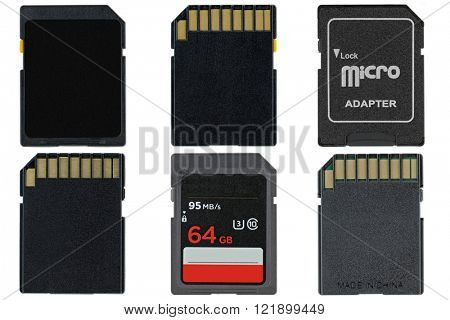 Different types of removable flash memory cards and Micro SD Adapter isolated on white