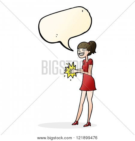 cartoon woman clapping hands with speech bubble