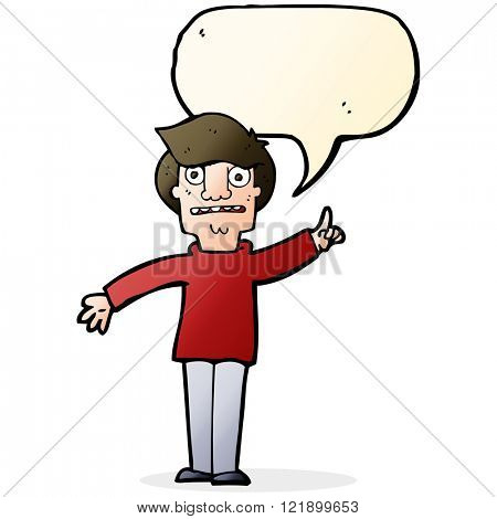 cartoon man asking question with speech bubble