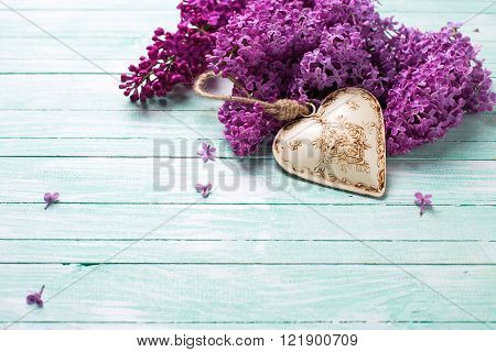 Background with splendid lilac flowers and decorative heart on turquoise painted wooden planks. Selective focus. Place for text.