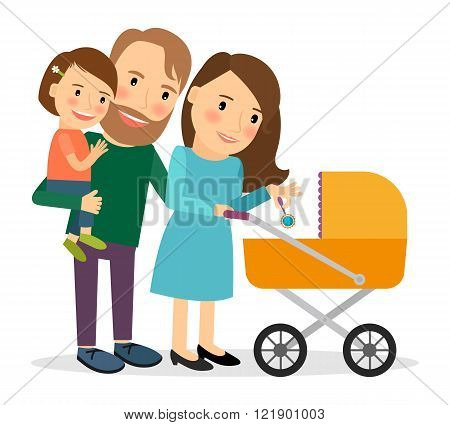 Family with baby in stroller