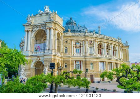 ODESSA UKRAINE - MAY 18 2015: The Opera Theatre in the most beautiful building of the city on May 18 in Odessa.