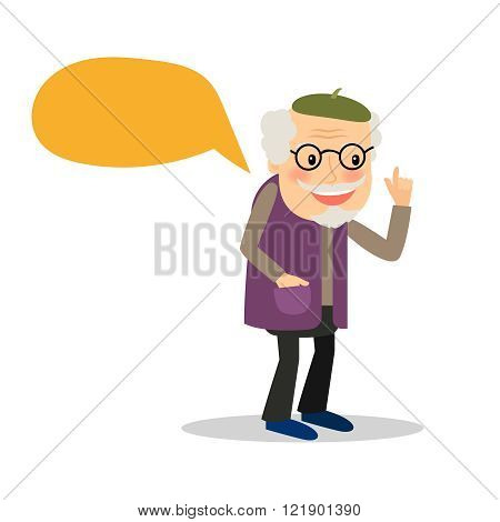 Older man with speech bubble
