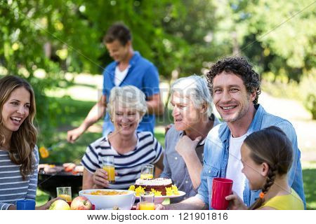 Family and friends having a picnic with barbecue in a park